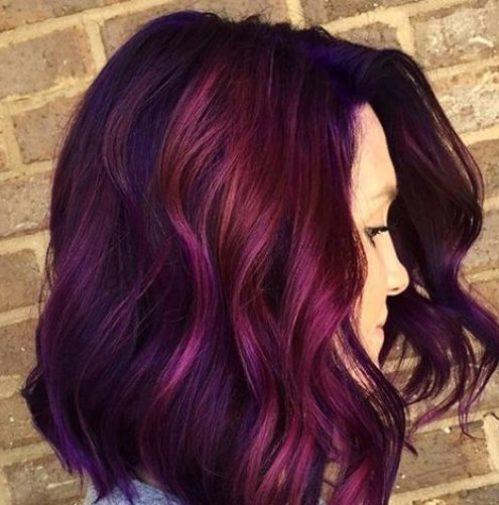 Purple and magenta plum hair color
