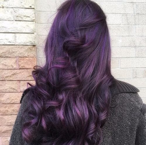 dark purple with curls plum hair color