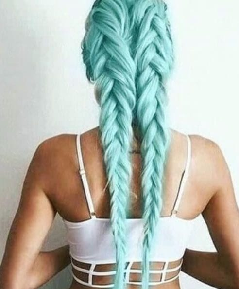 double french teal hair color