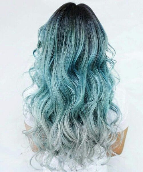 gray and teal hair color