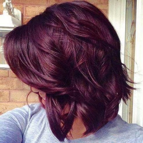 long bob plum hair color