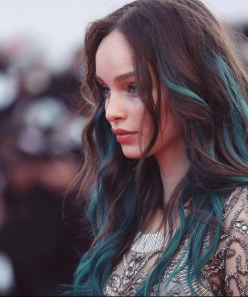 natural brown teal hair color strands