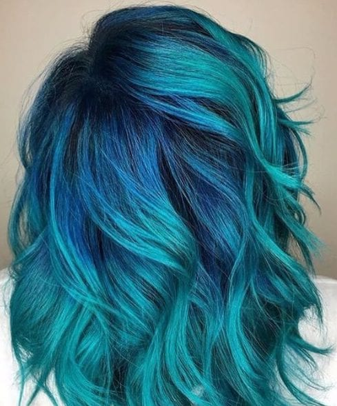 teal hair color with cobalt roots