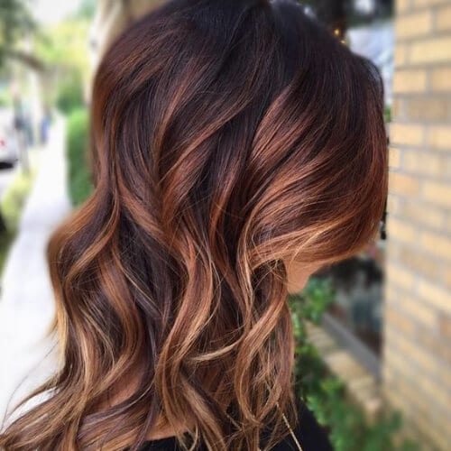 warm rich autumn brown hair with blonde highlights
