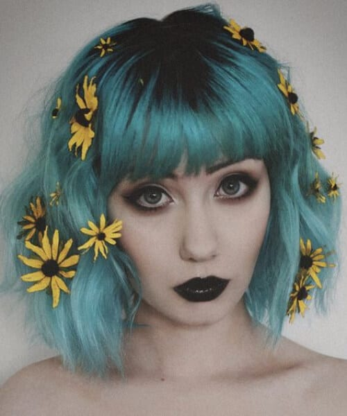 wild flowers teal hair color