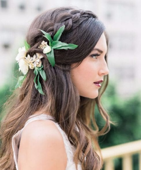 Burgundy + Berry Autumn Wedding Hairstyles For Long Hair