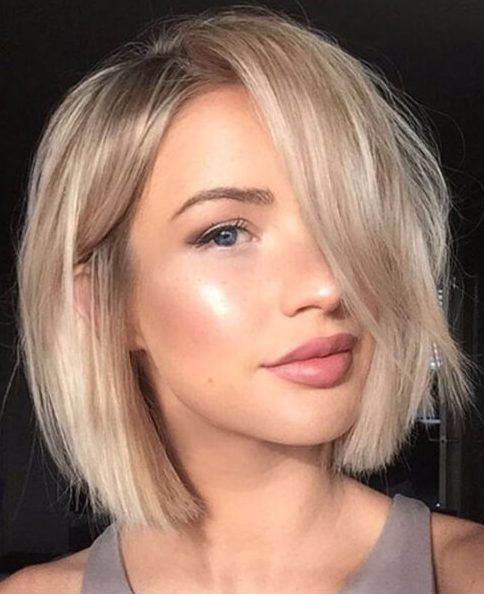 beige blonde bob short hairstyles for thick hair