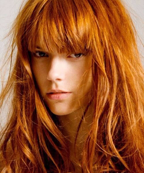 copper gold long hair with bangs