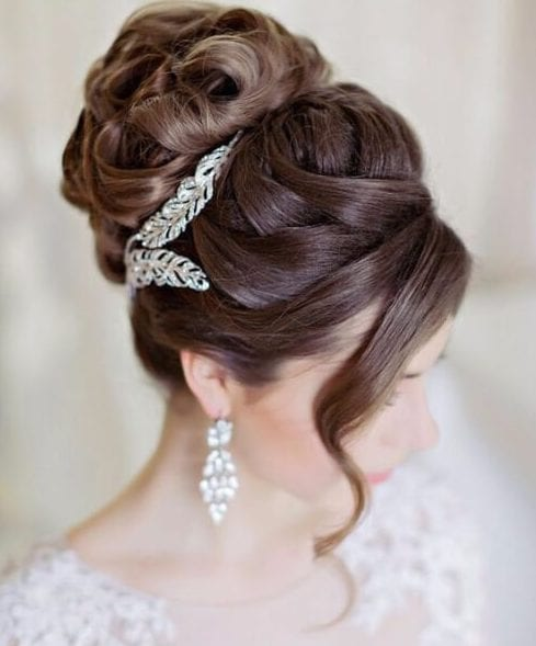 criss cross bun wedding hairstyles for long hair