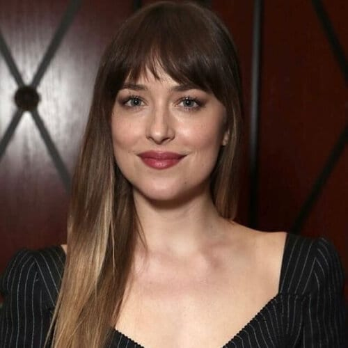 dakota johnson long hair with bangs