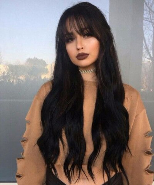 jet black hair long hair with bangs