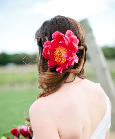 minimal peony wedding hairstyles for long hair