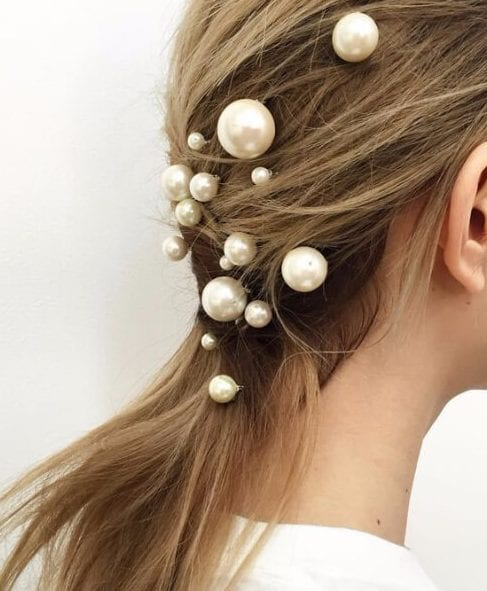 modern pearls wedding hairstyles for long hair