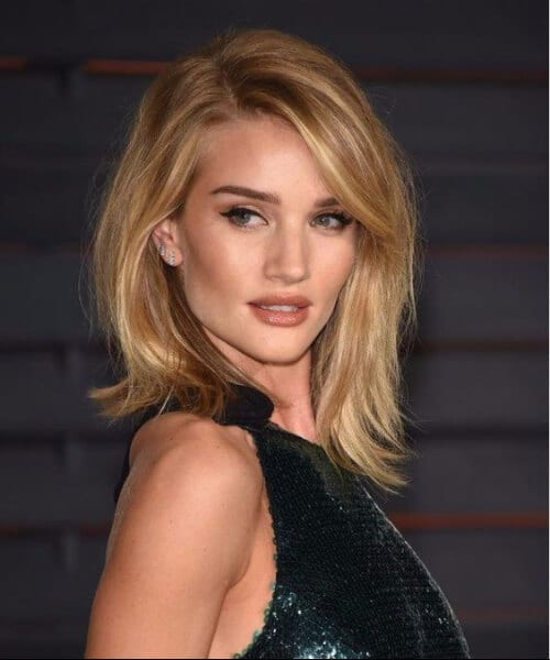 rosie huntington whiteley side swept bangs