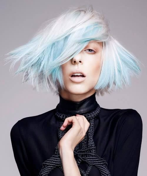sea foam blue short hair ombre
