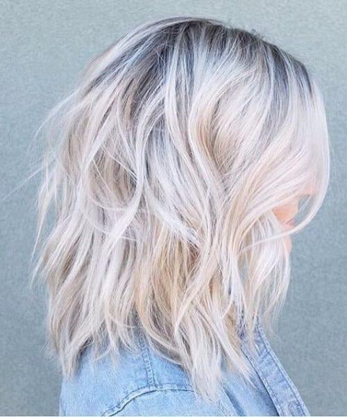 balayage short hair blonde diamond