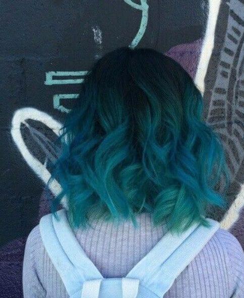 blue green balayage short hair