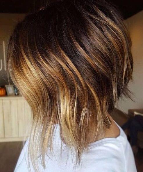 dark and toffee balayage short hair