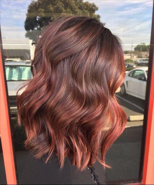 pale red balayage short hair
