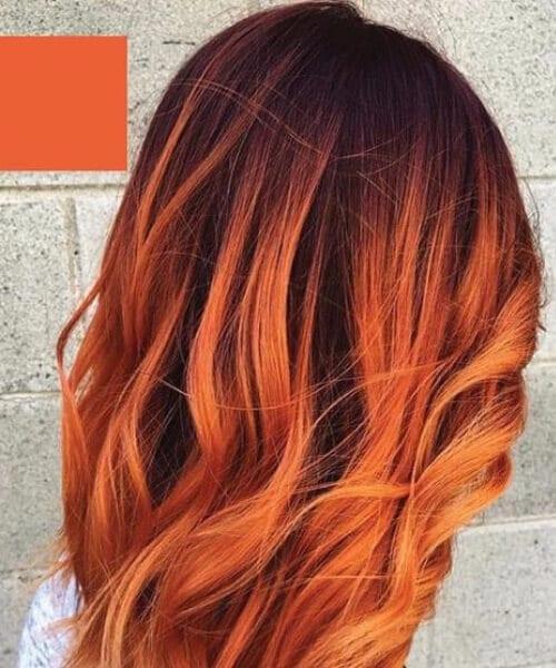 twilight orange red balayage short hair