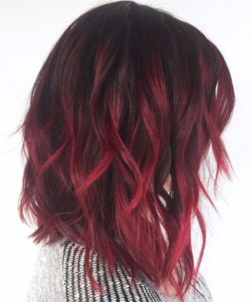 velvet red balayage short hair