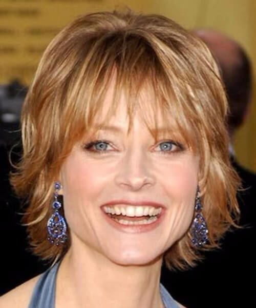 jodie foster short hair with bangs