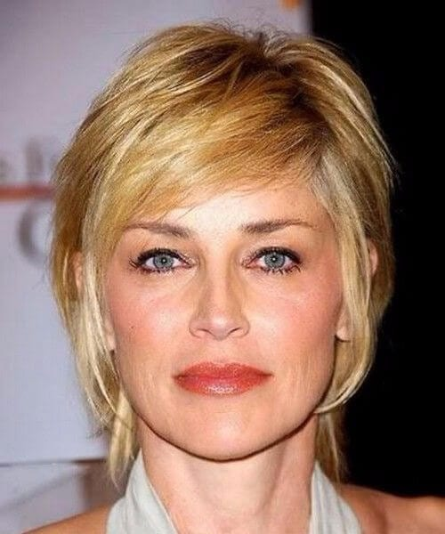 sharon stone short hair with bangs