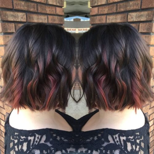 50 colorful peekaboo highlights my new hairstyles dark chocolate brown with red peekaboo balayage highlights peekaboo highlights solutioingenieria Image collections