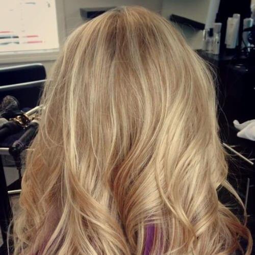 blonde eggplant peekabo highlights