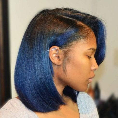 blue bob hairstyles for black women