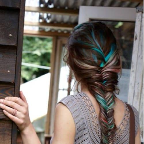 brown turquoise peekaboo highlights