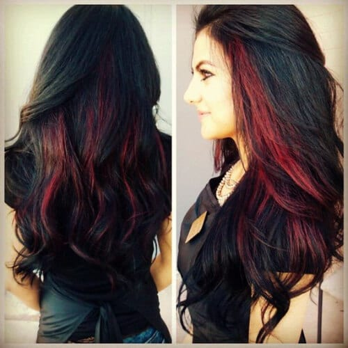 brunette red peekaboo highlights