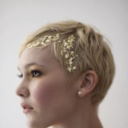 gold foil prom hairstyles for short hair