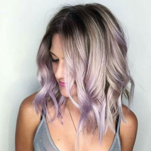 gray violet peekabo highlights