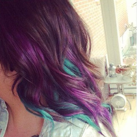 orchid turquoise peekaboo highlights