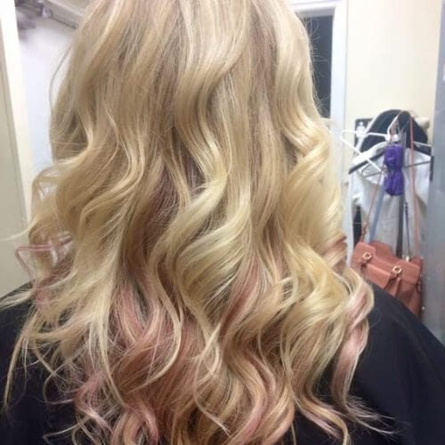 yellow gold blonde rose gold peekabo highlights