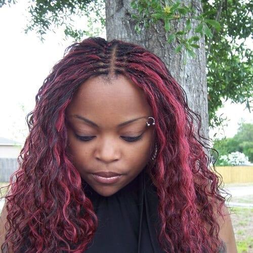 magenta tree braids