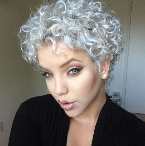 silver curly pixie cut