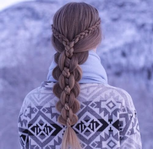 Dutch lace braids into an intricate five strand braid hairstyles for long hair
