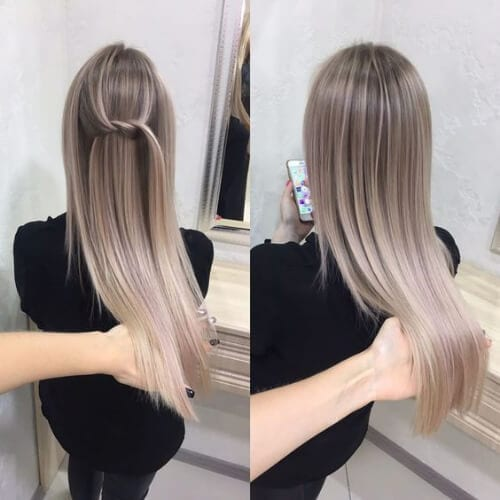 Straight And Sleek Ash Blonde Ombre blonde hairstyles