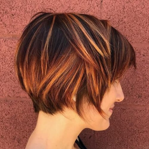 copper short hair with highlights