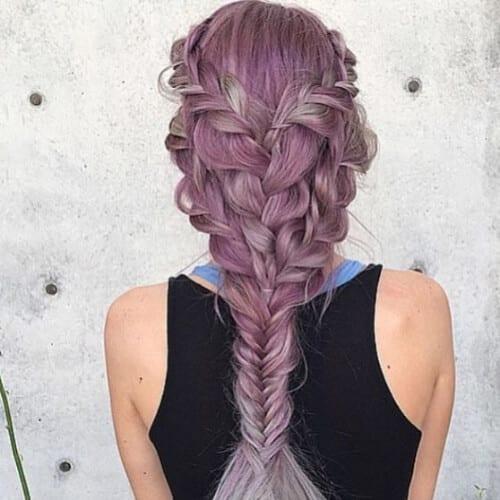 lavender braid hairstyles for long hair