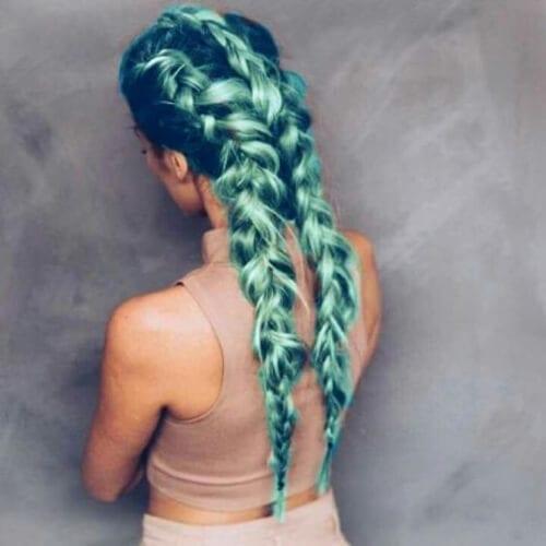 metallic green braid hairstyles for long hair