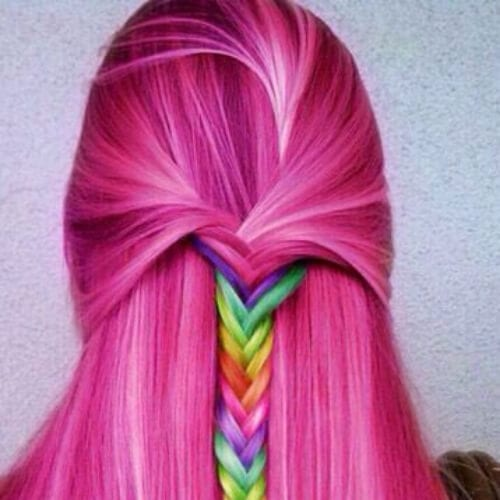 rainbow on pink braid hairstyles for long hair