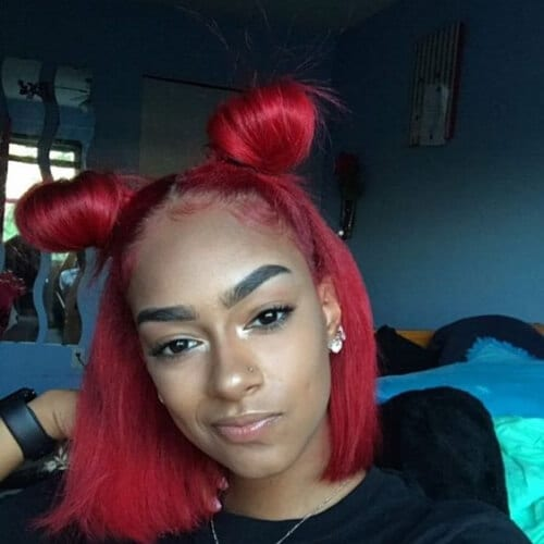 red space buns cool hairstyles for girls