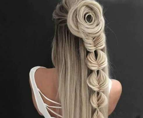 rose fishtail braid hairstyles for long hair