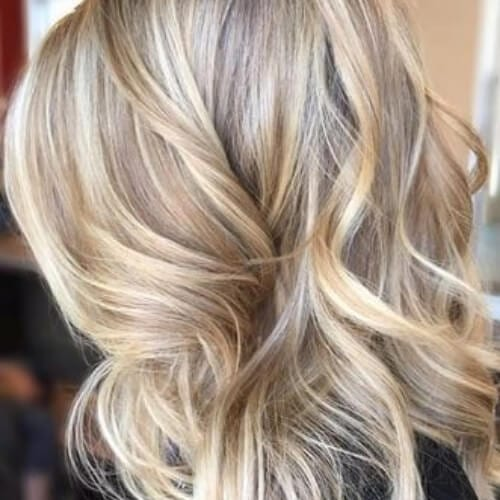 sandy blonde high highlights and lowlights