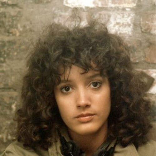 Jennifer Beals flashdance curly hair with bangs
