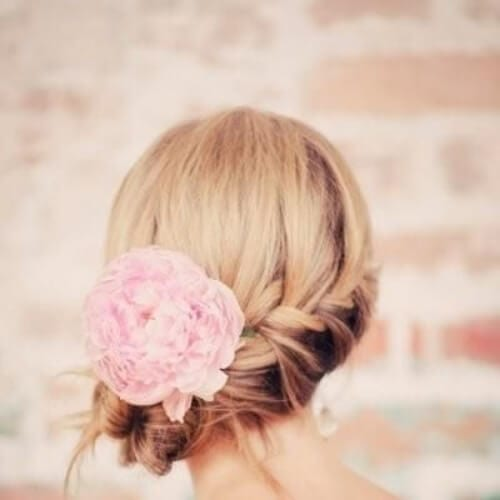 Side Braid with flower side hairstyles for prom
