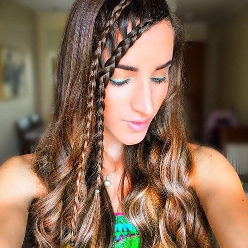 cascade braided bang hairstyles